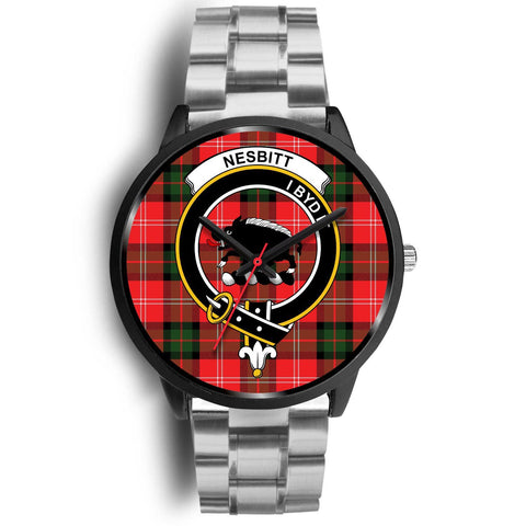 Nesbitt Modern Clans ,Black Metal Link watch, leather steel watch, tartan watch, tartan watches, clan watch, scotland watch, merry christmas, cyber Monday, halloween, black Friday