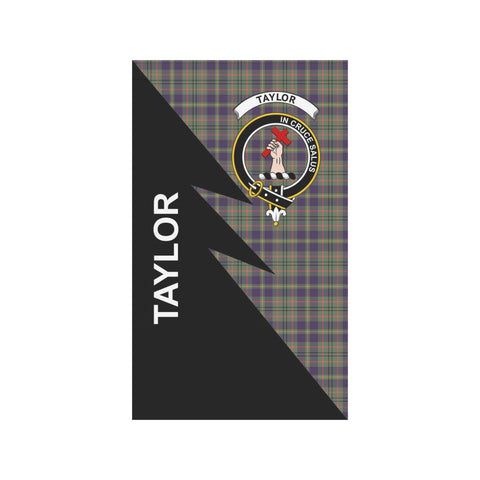 Garden Flag - Clan Taylor Plaid & Crest Tartan Flag - 3 Sizes - Flash Style