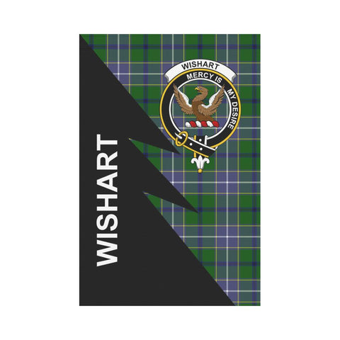 Garden Flag - Clan Wishart Plaid & Crest Tartan Flag - 3 Sizes - Flash Style
