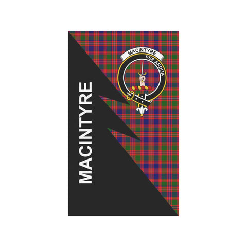 Image of Garden Flag - Clan MacIntyre Plaid & Crest Tartan Flag - 3 Sizes - Flash Style