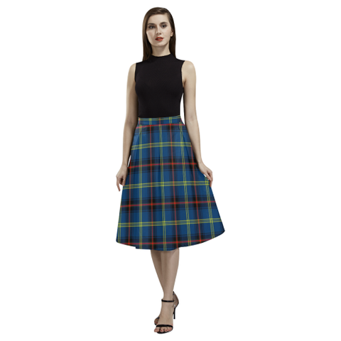 Tartan Crepe Skirt - Grewar Skirt For Women