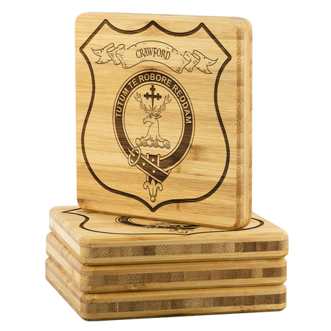 Tartan Bamboo Coaster - Crawford Wood Coaster With Clan Crest K7