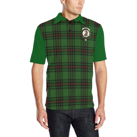 Tartan Polo - Halkett Plaid Mens Polo Shirt - Clan Crest