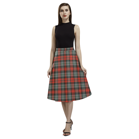 Tartan Crepe Skirt - MacLachlan Weathered Skirt For Women
