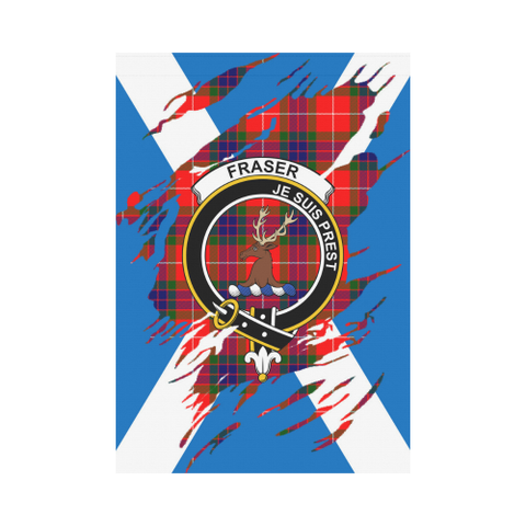 Image of ScottishShop Garden Flag - Tartan Fraser (Of Lovat) Lives In Me Flag