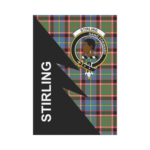 Image of Garden Flag - Clan Stirling (of Keir) Plaid & Crest Tartan Flag - 3 Sizes - Flash Style
