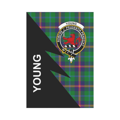 Garden Flag - Clan Young Plaid & Crest Tartan Flag - 3 Sizes - Flash Style