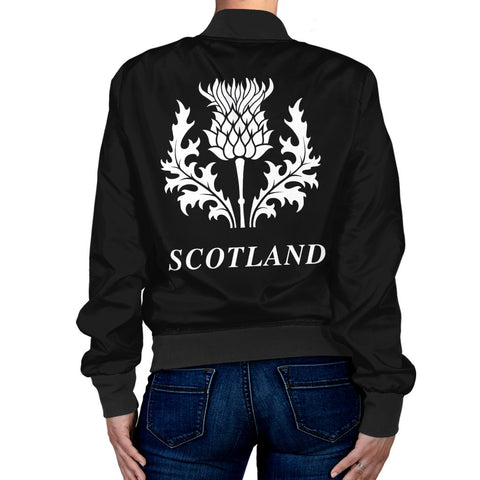 ScottishShop Tartan Bomber Jacket - Macleod Tartan Lion & Thistle Women Jacket