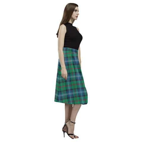 Tartan Crepe Skirt - Urquhart Ancient Skirt For Women