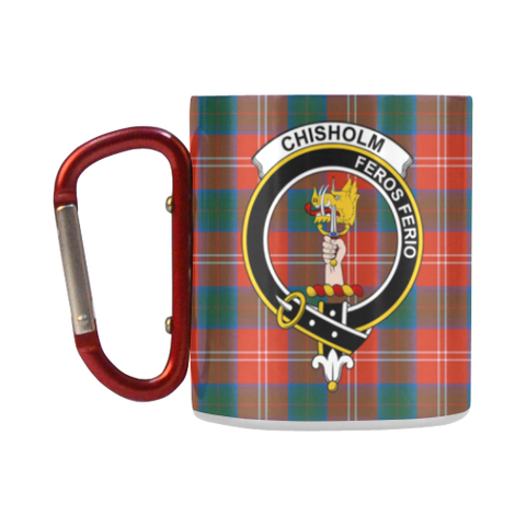 ScottishShop Insulated Mug - Chisholm Ancient Tartan Insulated Mug - Clan Badge