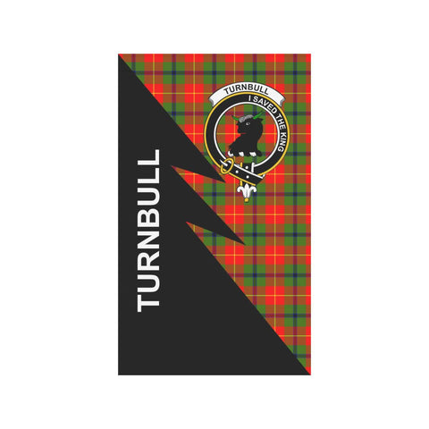 Garden Flag - Clan Turnbull Plaid & Crest Tartan Flag - 3 Sizes - Flash Style