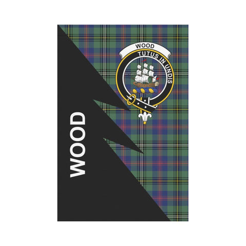 Garden Flag - Clan Wood  Plaid & Crest Tartan Flag - 3 Sizes - Flash Style