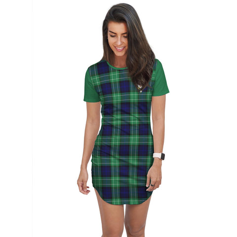 Image of T-shirt Dress - Clan Abercrombie Tartan Plaid T-shirt Dress For Women