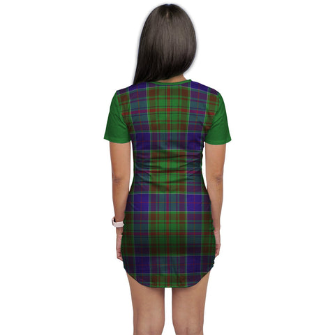 Image of T-shirt Dress - Clan Adam Tartan Plaid T-shirt Dress For Women
