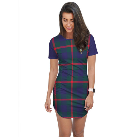 Image of T-shirt Dress - Clan Agnew Tartan Plaid T-shirt Dress For Women