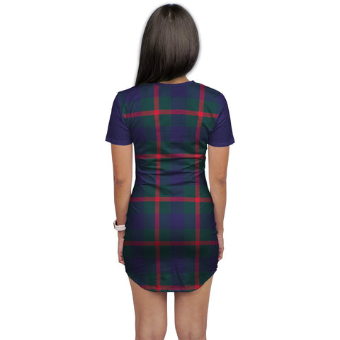 T-shirt Dress - Clan Agnew Tartan Plaid T-shirt Dress For Women