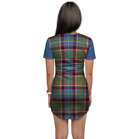 Image of T-shirt Dress - Clan Aikenhead Tartan Plaid T-shirt Dress For Women
