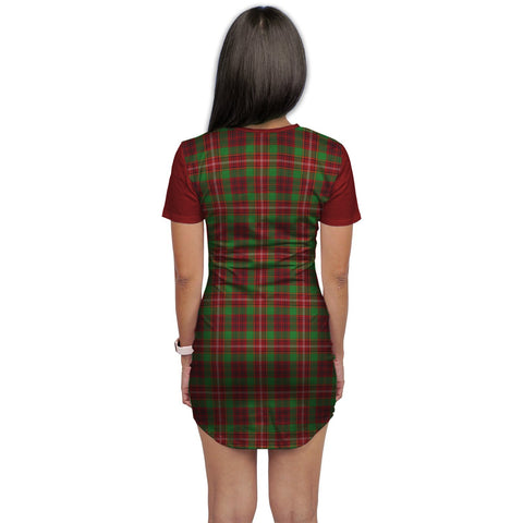 Image of T-shirt Dress - Clan Ainslie Tartan Plaid T-shirt Dress For Women