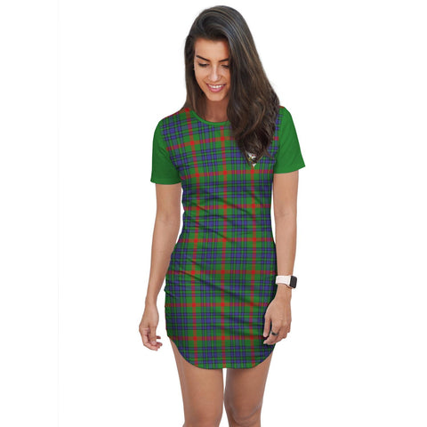 Image of T-shirt Dress - Clan Aiton Tartan Plaid T-shirt Dress For Women