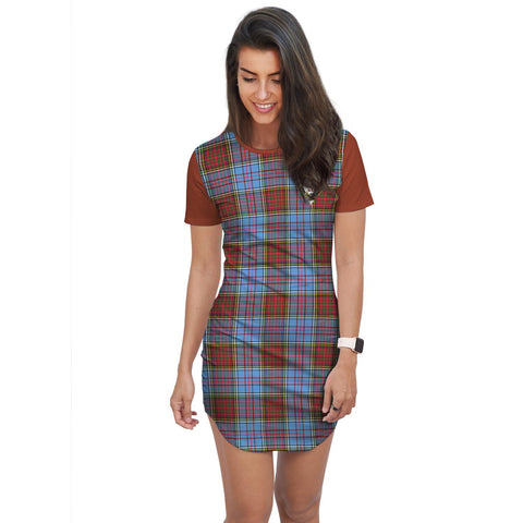 T-shirt Dress - Clan Anderson Tartan Plaid T-shirt Dress For Women