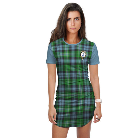 T-shirt Dress - Clan Arbuthnot Tartan Plaid T-shirt Dress For Women