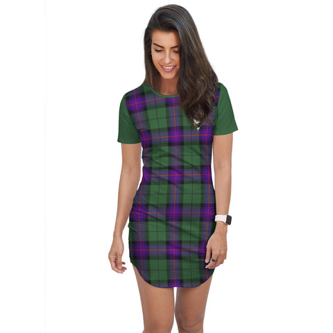 T-shirt Dress - Clan Armstrong Tartan Plaid T-shirt Dress For Women