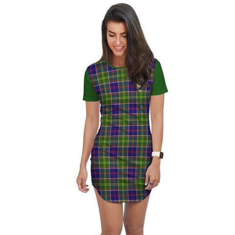 T-shirt Dress - Clan Arnott Tartan Plaid T-shirt Dress For Women