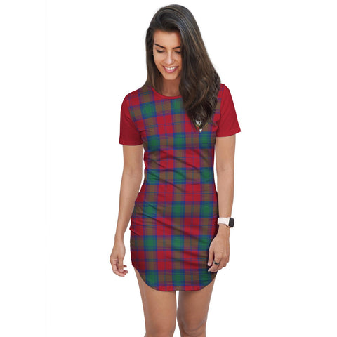 Image of T-shirt Dress - Clan Auchinleck Tartan Plaid T-shirt Dress For Women