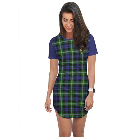 Image of T-shirt Dress - Clan Baillie Tartan Plaid T-shirt Dress For Women