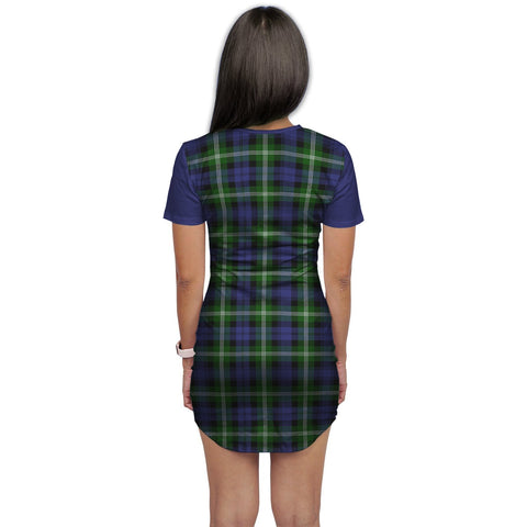 T-shirt Dress - Clan Baillie Tartan Plaid T-shirt Dress For Women