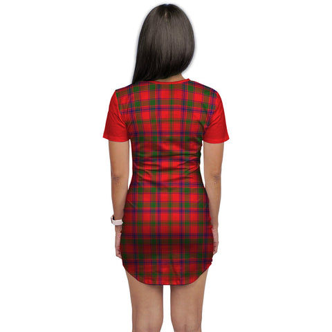 T-shirt Dress - Clan Bain Tartan Plaid T-shirt Dress For Women