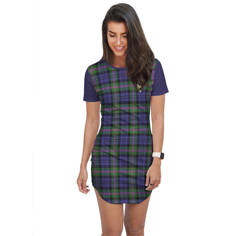 Image of T-shirt Dress - Clan Baird Tartan Plaid T-shirt Dress For Women