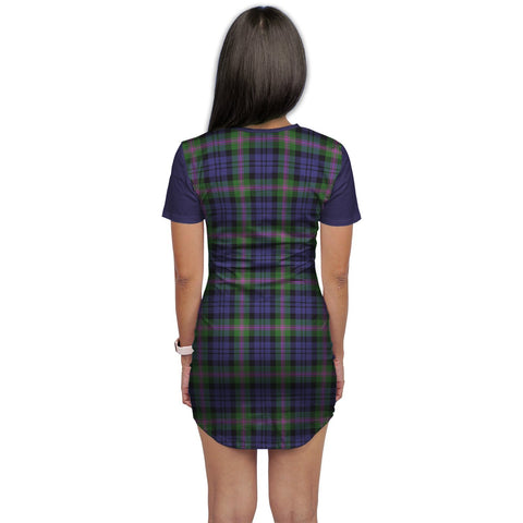 T-shirt Dress - Clan Baird Tartan Plaid T-shirt Dress For Women