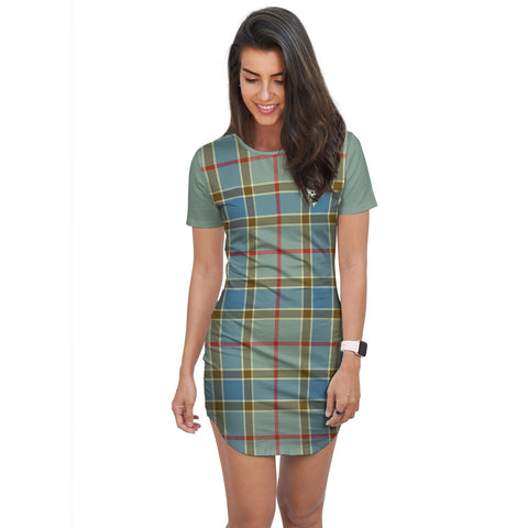 Image of T-shirt Dress - Clan Balfour Tartan Plaid T-shirt Dress For Women