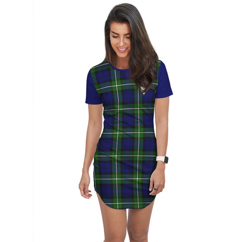 Image of T-shirt Dress - Clan Bannerman Tartan Plaid T-shirt Dress For Women