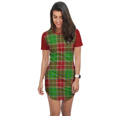 Image of T-shirt Dress - Clan Baxter Tartan Plaid T-shirt Dress For Women