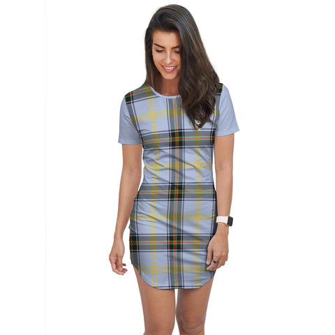 T-shirt Dress - Clan Bell Tartan Plaid T-shirt Dress For Women