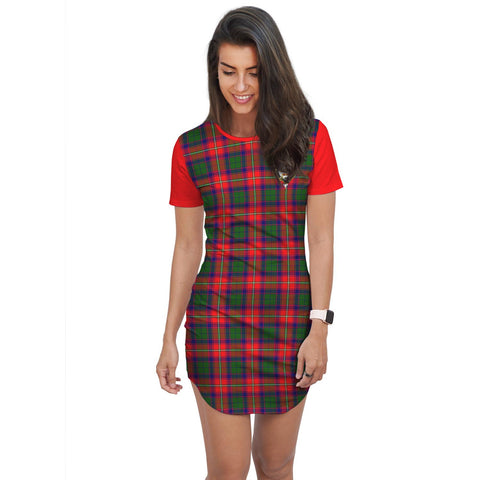 Image of T-shirt Dress - Clan Belshes Tartan Plaid T-shirt Dress For Women
