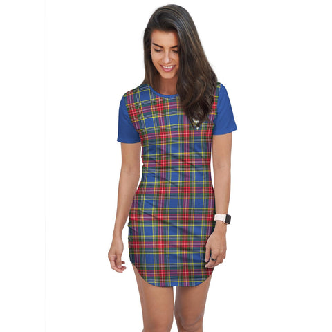 Image of T-shirt Dress - Clan Bethune Tartan Plaid T-shirt Dress For Women
