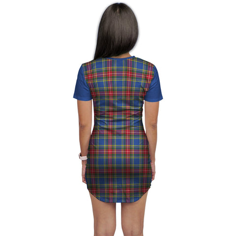 T-shirt Dress - Clan Bethune Tartan Plaid T-shirt Dress For Women