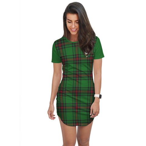 Image of T-shirt Dress - Clan Beveridge Tartan Plaid T-shirt Dress For Women
