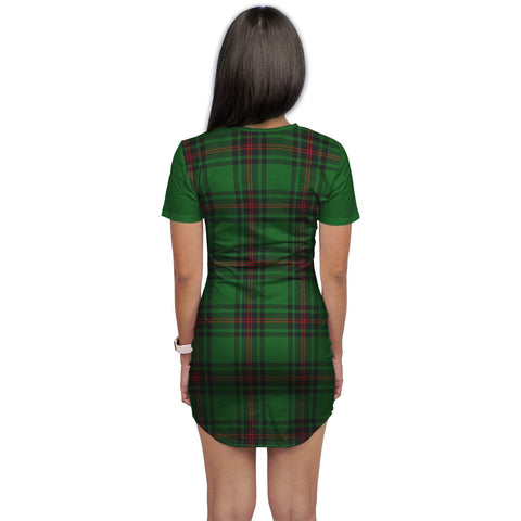 T-shirt Dress - Clan Beveridge Tartan Plaid T-shirt Dress For Women
