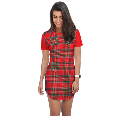 T-shirt Dress - Clan Binning of Wallifoord Tartan Plaid T-shirt Dress For Women