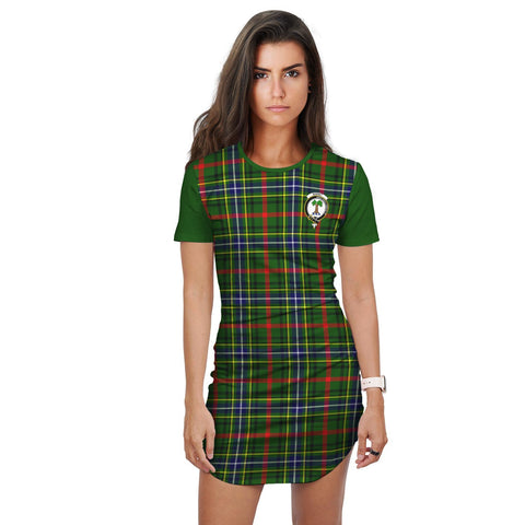 Image of T-shirt Dress - Clan Bisset Tartan Plaid T-shirt Dress For Women