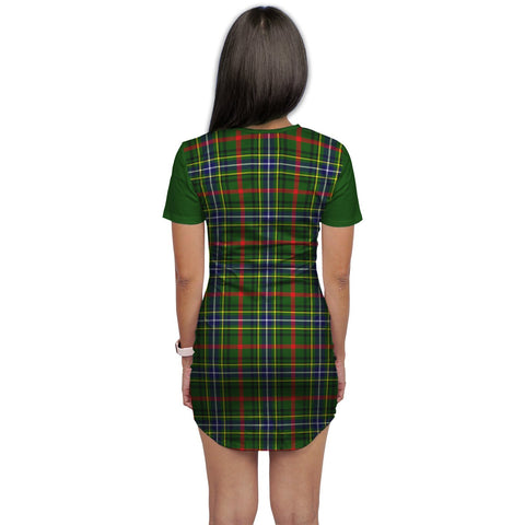 T-shirt Dress - Clan Bisset Tartan Plaid T-shirt Dress For Women
