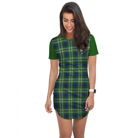 Image of T-shirt Dress - Clan Blackadder Tartan Plaid T-shirt Dress For Women