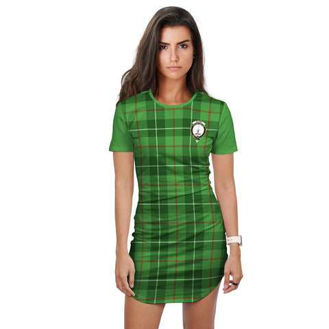 T-shirt Dress - Clan Blane Tartan Plaid T-shirt Dress For Women