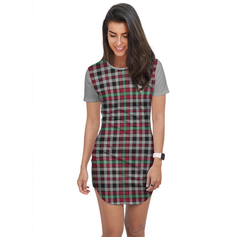 Image of T-shirt Dress - Clan Borthwick Tartan Plaid T-shirt Dress For Women
