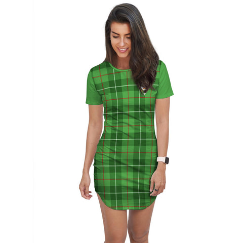 T-shirt Dress - Clan Boyle Tartan Plaid T-shirt Dress For Women
