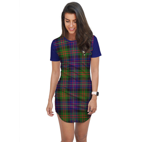 T-shirt Dress - Clan Chalmers Tartan Plaid T-shirt Dress For Women